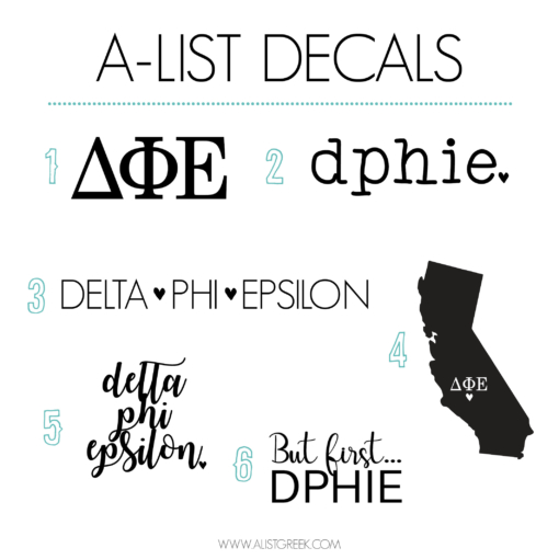 Delta Phi Epsilon Decal 6 Pack from www.alistgreek.com