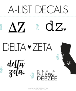 Delta Zeta Decal 6 Pack from www.alistgreek.com