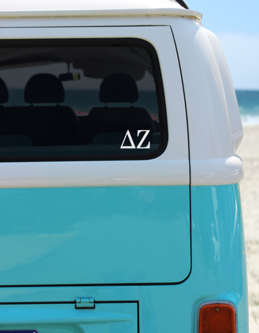 Delta Zeta White Greek Letter Decal from www.alistgreek.com