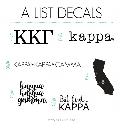 Kappa Kappa Gamma Decal 6 Pack from www.alistgreek.com