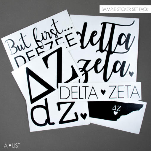 Delta Zeta Decal Pack from www.alistgreek.com