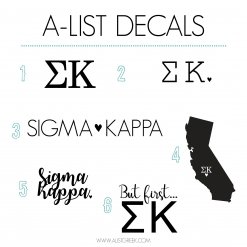 Sigma Kappa Decal 6 Pack from www.alistgreek.com