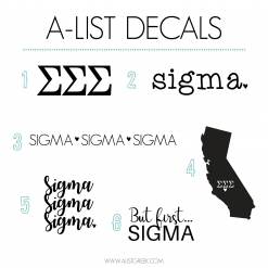 Sigma Sigma Sigma Decal 6 Pack from www.alistgreek.com