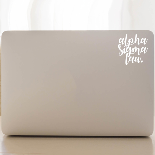 Alpha Sigma Tau Script Decal Laptop