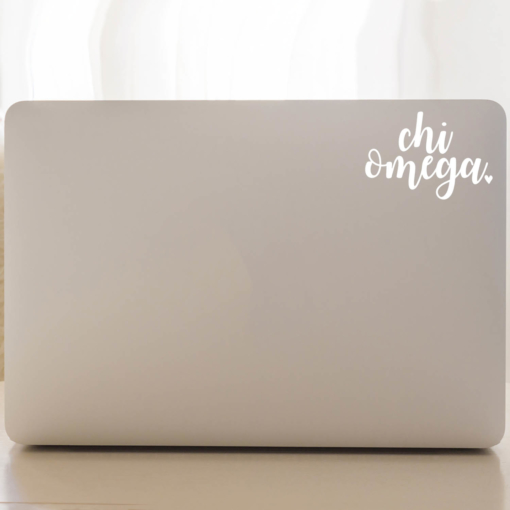 Chi Omega Script Decal Laptop