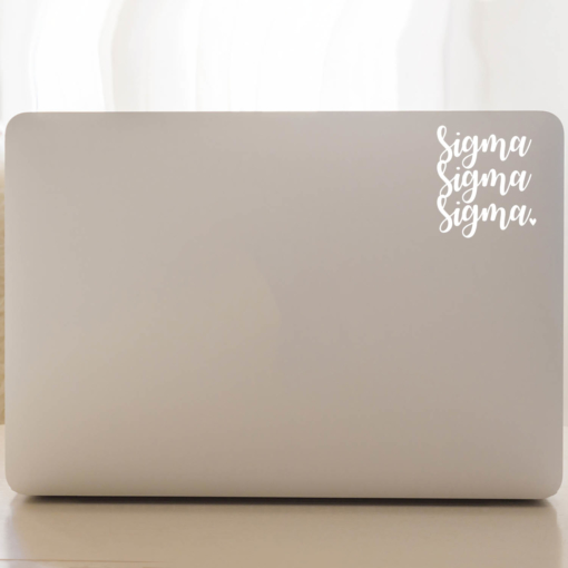 Sigma Sigma Sigma Script Laptop Decal