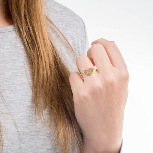 Gold Chi Omega Sorority Heart Ring by www.alistgreek.com