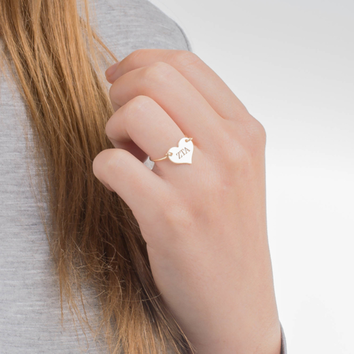 Zeta Tau Alpha Gold Filled Heart Wire Ring by www.alistgreek.com