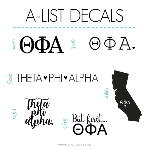 Theta Phi Alpha Decal 6 Pack from www.alistgreek.com