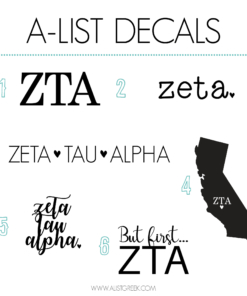 Zeta Tau Alpha Decal 6 Pack from www.alistgreek.com
