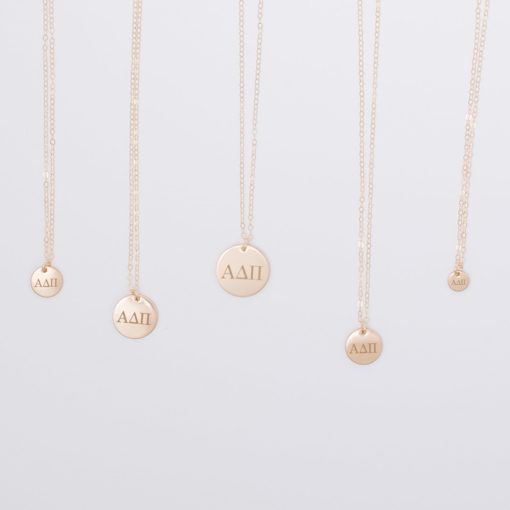 alpha-delta-pi-disc-charm-necklace-compilation-gold