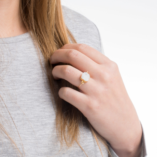 Delicate Gold Druzy Ring from www.alistgreek.com
