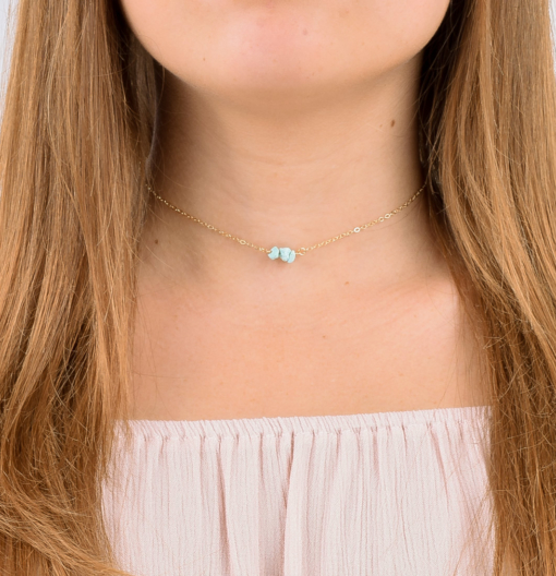 Gold Filled Natural Turquoise Choker from www.alistgreek.com