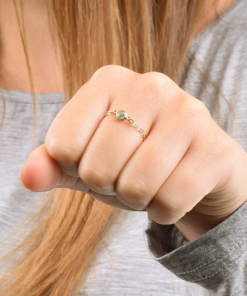Dainty Gold CZ Chain Ring from www.alistgreek.com