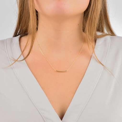 Gold Curved Tube Necklace from www.alistgreek.com
