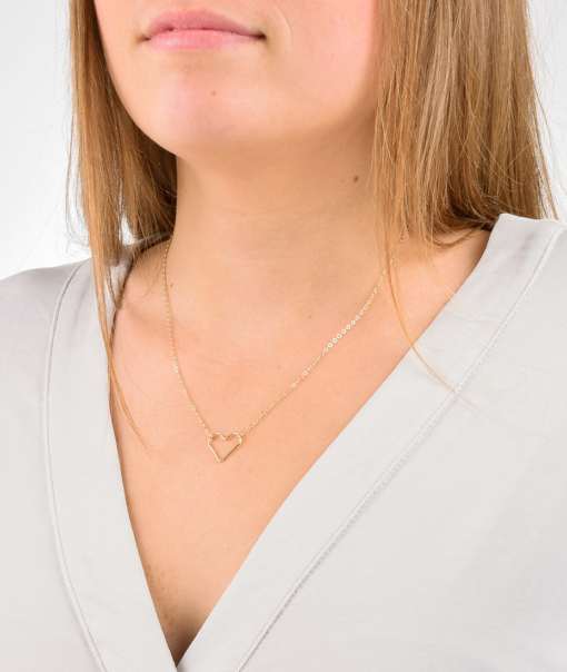 Gold Open Heart Necklace from www.alistgreek.com
