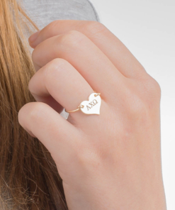 gold alpha chi omega heart wire ring closeup