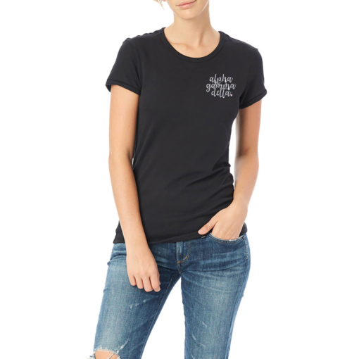 Sorority-Black-Tshirt-Embroidered-Alpha-Gamma-Delta-Script-White-3