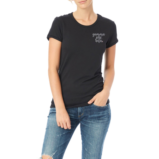 Sorority-Black-Tshirt-Embroidered-Gamma-Phi-Beta-Script-White-3