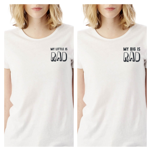 Big Little My Big Little is Rad White Tshirt Black Embroidery
