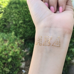 Alpha Xi Delta Greek Letter Metallic Tattoos Open Block Letter