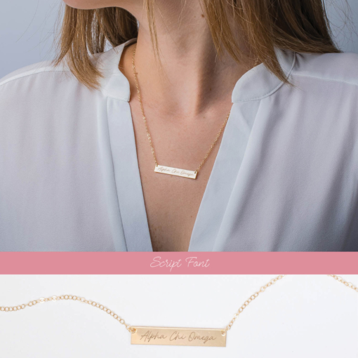 2 view bar necklace script alpha chi omega