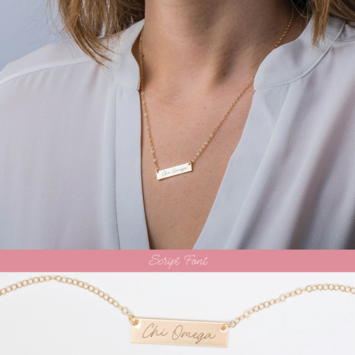 2 view bar necklace script chi omega
