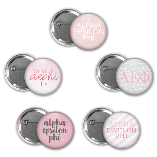 Alpha Epsilon Phi Pin Back Button Mock Up Collage