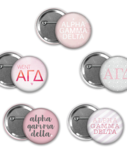 Alpha Gamma Delta Pin Back Button Mock Up Collage