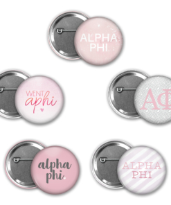 Alpha Phi Pin Back Button Mock Up Collage