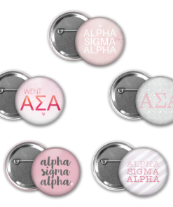Alpha Sigma Alpha Pin Back Button Mock Up Collage