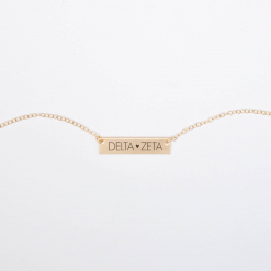 Bar-Necklace-Gold-H625-Delta-Zeta-block-letters