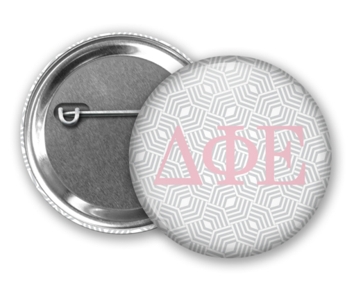 DPhiE Geometric Pin Back Button Mock Up