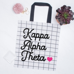 Kappa-Alpha-Theta-Tote-White-Black-Stripes-on-Marble