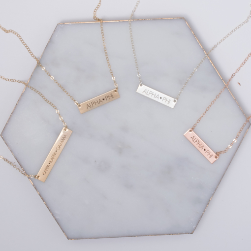 Block Letter Sorority Bar Necklace