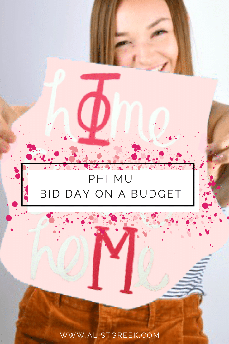 Phi Mu Bid Day on a budget blog feature image
