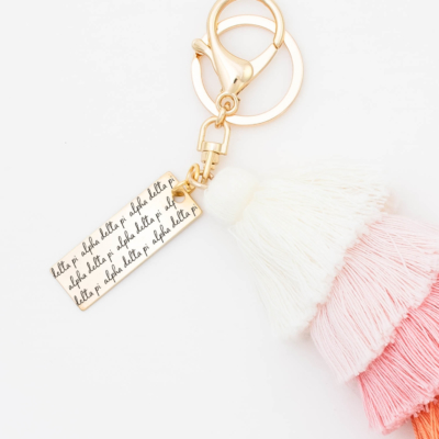 Sunset-Fiesta-Tassel-Keychain-Alpha-Delta-Pi-MorningDew-Closeup